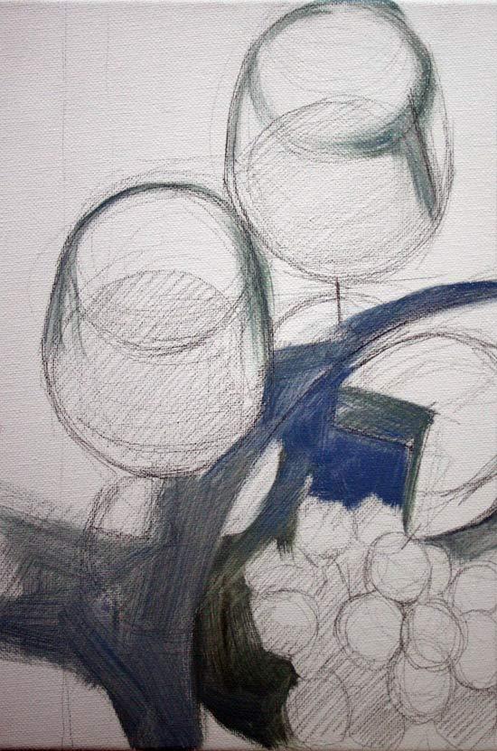 La Primer Capa De Un Pintura Al Oleo  Pintando Un Bodegon